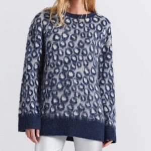 Current Elliott blue leopard sweater cheetah